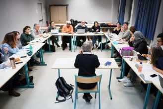 Catherine Tourette-Turgis, enseignante-chercheure, elle dirige le master en éducation thérapeutique à l'UPMC-Sorbonne Universités où elle a fondé en 2009 l'Université des Patients. Nous avons suivi Catherine lors de l'un de ses cours dispensé à la fac de la Pitié Salpétrière.À Paris le 31 janvier 2018.